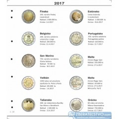 Farebné medzilisty do albumov NUMIS na pamätné 2 Euro mince - 10 mincí na stranu - číslo 37 - 2017