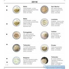 Farebné medzilisty do albumov NUMIS na pamätné 2 Euro mince - 10 mincí na stranu - číslo 44 - 2018