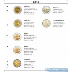 Farebné medzilisty do albumov NUMIS na pamätné 2 Euro mince - 10 mincí na stranu - číslo 45 - 2018