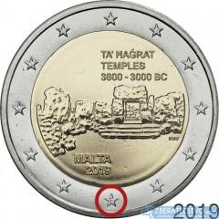 "Malta 2 Euro 2019 - Ta' Hagrat - so značkou mincovne ""F"""