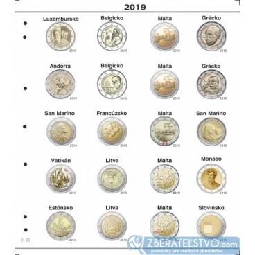 Farebné medzilisty do albumov NUMIS na pamätné 2 Euro mince - 20 mincí na stranu - číslo 23 - 2019