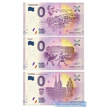 0 Euro Souvenir Chorvátsko 2019-1 - DUBROVNIK + PULA + ZAGREB - rovnaké čísla do 1000