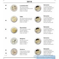 Farebný medzilist do albumov NUMIS na pamätné 2 Euro mince - 10 mincí na stranu - číslo 46 - 2019
