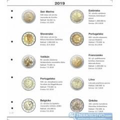 Farebný medzilist do albumov NUMIS na pamätné 2 Euro mince - 10 mincí na stranu - číslo 47 - 2019