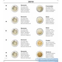 Farebný medzilist do albumov NUMIS na pamätné 2 Euro mince - 10 mincí na stranu - číslo 48 - 2019