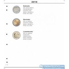 Farebný medzilist do albumov NUMIS na pamätné 2 Euro mince - 10 mincí na stranu - číslo 50 - 2019