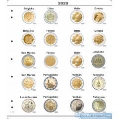 Farebný medzilist do albumov NUMIS na pamätné 2 Euro mince - 20 mincí na stranu - číslo 25 - 2020