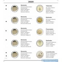 Farebný medzilist do albumov NUMIS na pamätné 2 Euro mince - 10 mincí na stranu - číslo 51 - 2020
