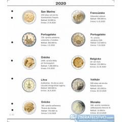Farebný medzilist do albumov NUMIS na pamätné 2 Euro mince - 10 mincí na stranu - číslo 53 - 2020