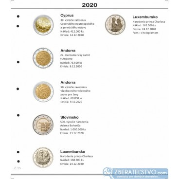Farebný medzilist do albumov NUMIS na pamätné 2 Euro mince - 10 mincí na stranu - číslo 55 - 2020