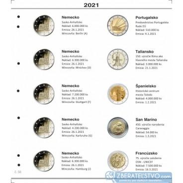 Farebný medzilist do albumov NUMIS na pamätné 2 Euro mince - 10 mincí na stranu - číslo 56 - 2021