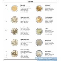 Farebný medzilist do albumov NUMIS na pamätné 2 Euro mince - 10 mincí na stranu - číslo 57 - 2021