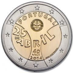 Portugalsko - 2 Euro 2014 - 40. výročie Karafiátovej revolúcie