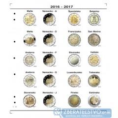 Farebný medzilist do albumov NUMIS na pamätné 2 Euro mince - 20 mincí na stranu - číslo 18 - 2016-2017