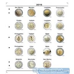Farebný medzilist do albumov NUMIS na pamätné 2 Euro mince - 20 mincí na stranu - číslo 17 - 2016