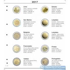 Farebné medzilisty do albumov NUMIS na pamätné 2 Euro mince - 10 mincí na stranu - číslo 39 - 2017