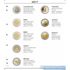 Farebné medzilisty do albumov NUMIS na pamätné 2 Euro mince - 10 mincí na stranu - číslo 40 - 2017