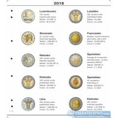 Farebné medzilisty do albumov NUMIS na pamätné 2 Euro mince - 10 mincí na stranu - číslo 41 - 2018