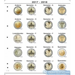 Farebný medzilist do albumov NUMIS na pamätné 2 Euro mince - 20 mincí na stranu - číslo 20 - 2017-2018